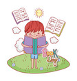 boy read education books with clouds and sun vector image vector image