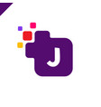 business corporate square letter j font logo vector image