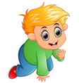 cartoon kid crawling isolated on white background vector image vector image
