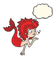 cartoon mermaid blowing a kiss with thought bubble vector image