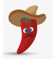 cartoon red chili pepper hat mexican design vector image vector image