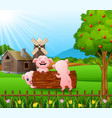 cartoon three little pigs play in the log with far vector image vector image