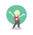 cheerful little boy having fun vector image