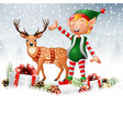 christmas background with elf deer and gift boxes vector image