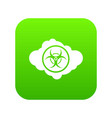 cloud with biohazard symbol icon digital green vector image