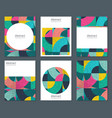 collection six cards with colorful vector image