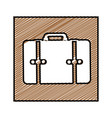 color pencil drawing square frame with suitcase vector image vector image