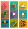 Concept flat icons with long shadow celebration vector image vector image