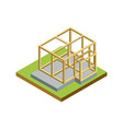 construction structure walls isometric 3d icon vector image