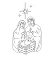 continuous line drawing birth jesus vector image