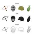 crossbow medieval helmet soldier helmet hand vector image