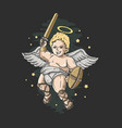 cute cupid angel with sword and shield vector image