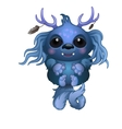 Cute smiling blue monster with horns and big eyes vector image vector image