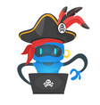 cyber pirate robot hacking someone vector image vector image