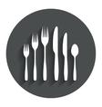 Dessert fork knife teaspoon Cutlery set vector image