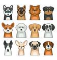 dog face icon set cute cartoon style vector image