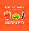 fast food best daily offer banner template vector image vector image