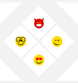 flat icon emoji set of love pouting winking and vector image vector image