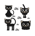 Flat icon of a black cat sitting vector image
