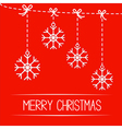 Four hanging snowflakes Merry Christmas card vector image