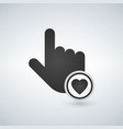 hand mouse cursor icon with heart in the circle vector image vector image