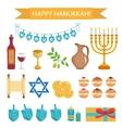 hanukkah cartoon icons icons vector image vector image