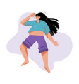happy overweight woman lies in relaxed pose vector image