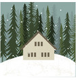 hut in winter forest vector image vector image