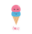 ice cream in waffle cone scoop set smiling vector image vector image