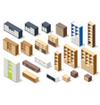 isometric set different stylish commodes and vector image