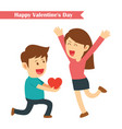 male kneeling giving red heart for his girlfriend vector image