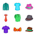 man elegant clothes icon set cartoon style vector image