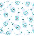 milk bottles seamless pattern vector image