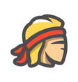 muay thai fighter face icon cartoon vector image