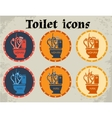 Multicolored toilet icons vector image vector image
