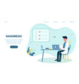 nanomedic sitting table working on laptop vector image vector image