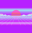neon retrowave sun and mountain vector image