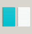 notepad with a blue cover and with a binding vector image