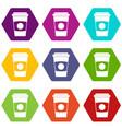 paper coffee cup icon set color hexahedron vector image vector image