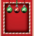 red christmas holiday frame and ornaments vector image vector image