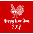 red poster of a white rooster isolated on red vector image vector image