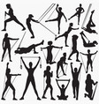 resistanance band exercise silhouettes vector image vector image