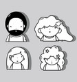 set people kawaii avatar with hairstyle and vector image