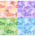 set sea hand drawn seamless pattern vector image