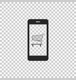 shopping cart on screen smartphone icon vector image vector image