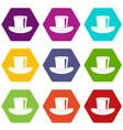 silk hat icon set color hexahedron vector image vector image