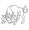 stylised bull vector image vector image