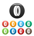 turning tire icons set color vector image vector image