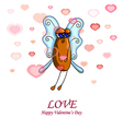 Valentine card with a fly male vector image vector image