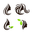 woman beauty hair spa salon logo design set vector image vector image